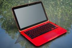 Labtop vermelho Imagem de Stock Royalty Free