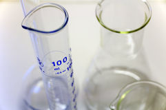 Labware. Beaker, erlenmeyer and volume measurement. A few glassware used in laboratories to measure many compounds in the blood Stock Photo