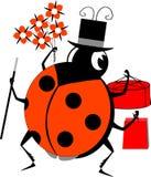Labybug man holding gifts. Labybug man in cylinder hat holding flowers, cake and gift Stock Photo