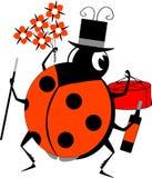 Labybug-Mann, der Blumen, Kuchen und Rebe hält Lizenzfreie Stockbilder