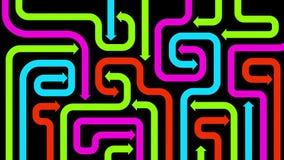 Labyrint av färgrika pilar på svart, 2d illustration Arkivbilder