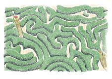 Labyrint av idéer Begrepp av labyrint som ska korsas för att finna idéerna, och för att kontrollera med förgrunden av hjärnan stock illustrationer