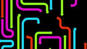 Labyrint av varicolored pilar på svart bakgrund, 2d illustration Arkivbild