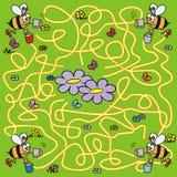 Labyrint, bijen en navigatie Stock Foto