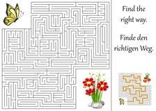 labyrint eller labyrint för barn Fotografering för Bildbyråer