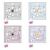 Labyrint eller labyrintlek för barn också vektor för coreldrawillustration 10 eps stock illustrationer