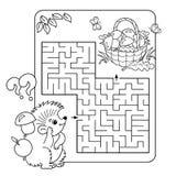 Labyrint eller labyrintlek för förskole- barn Pussel Färga sidaöversikten Arkivbilder