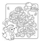 Labyrint eller labyrintlek för förskole- barn Pussel Tilltrasslad väg Arkivbilder