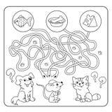 Labyrint eller labyrintlek för förskole- barn Pussel Tilltrasslad väg Matcha leken Tecknad filmdjur och deras favorit- mat Fotografering för Bildbyråer