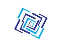 Labyrint en fyrkantsymbol och multilines för logodesignillustratör, lagersymbol vektor illustrationer