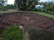 Labyrint en Labyrint in een botanische tuin bij het Grote Eiland van Hawaï Stock Foto