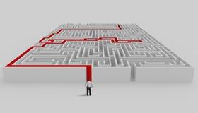 Labyrint en oplossing Royalty-vrije Stock Afbeeldingen