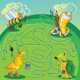Labyrint för barn - hjälp sköldpaddan, myra, får biet till målarfärger och borstar för att måla Arkivfoto