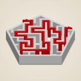 Labyrint för labyrint 3d med lösningen Royaltyfri Foto