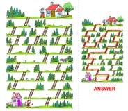 Labyrint för liten röd ridninghuv för ungar Arkivfoton