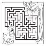 Labyrint, labyrint voor jonge geitjes Ingang en Uitgang De kinderen brengen spel in verwarring - kleurend boek vector illustratie