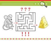 Labyrint of labyrintspel voor kinderen met beeldverhaal stock illustratie