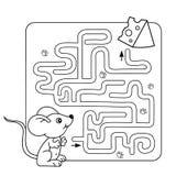 Labyrint of Labyrintspel voor Peuterkinderen Raadsel Kleurend Paginaoverzicht van weinig muis met kaas royalty-vrije illustratie
