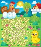 Labyrint 4 med hönan och höna Arkivbild