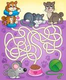 Labyrint 13 med katter royaltyfri illustrationer