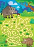 Labyrint 29 med lösa svin Royaltyfri Foto