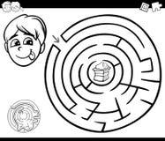 Labyrint med pojken och kakan för att färga Arkivbild