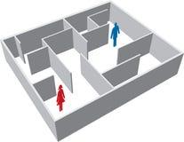 Labyrint met de mens en vrouw Royalty-vrije Stock Afbeeldingen