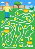 Labyrint met jongen en gouden eieren vind manier waar meer eggscount en schrijf stock afbeeldingen