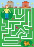 Labyrint met jongen en puppy huisdierenlabyrint help de jongen zijn hond vinden stock foto's