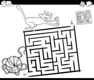 Labyrint met kat en wol kleurende pagina royalty-vrije illustratie