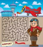 Labyrint 3 met luchtvaartthematics 1 stock illustratie