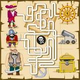 Labyrint met piraten Vectorspel voor jonge geitjes vector illustratie