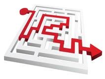 Labyrint met rode pijloplossing Stock Afbeelding