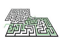 Labyrint in perspectief met ingang en uitgang stock illustratie