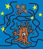 Labyrint spökat träd Arkivfoto