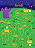 labyrint spökelabyrint på halloween fyndväg var mer pumpor Arkivbilder