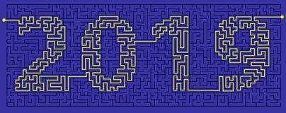labyrint van geheimzinnigheid met de gecodeerde inschrijving 2019 Het concept is een symbool van het nieuwe jaar stock illustratie