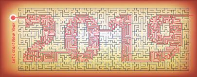 labyrint van geheimzinnigheid met de gecodeerde inschrijving 2019 Het concept is een symbool van het nieuwe jaar vector illustratie