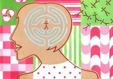 Labyrint van hersenen, Silhouet van vrouw met labyrint in het hoofd royalty-vrije illustratie