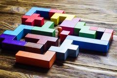Labyrint van kleurrijke houten blokken, tetris Royalty-vrije Stock Afbeelding