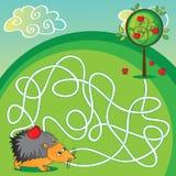 Labyrint voor jonge geitjes - help de egel om aan te krijgen Royalty-vrije Stock Foto