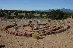 Labyrint in Woestijn stock afbeeldingen