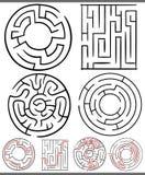 Labyrinten of geplaatste labyrintendiagrammen Stock Afbeelding