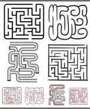 Labyrinten of geplaatste labyrintendiagrammen Stock Foto's