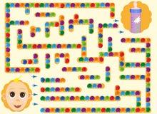 Labyrinten med behandla som ett barn finna vägen till flaskan, matningsbarn Arkivbild