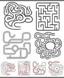 Labyrinter eller labyrintdiagramuppsättning Royaltyfria Bilder