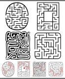 Labyrinter eller labyrintdiagramuppsättning Royaltyfri Bild