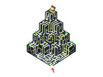Labyrinth - 1. Find all demands 2. Find a Gold. 3D Labyrinth Pyramid - Take all green demands and after gold treasure Royalty Free Stock Photo