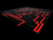 Labyrinth. Render: the virtual labyrinth with path Royalty Free Stock Photo