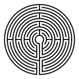 Labyrinth. Simple black circular labyrinth on white background royalty free illustration